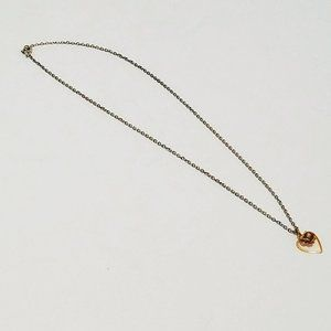 """Heart Flower Chain Link Necklace 16"""""""